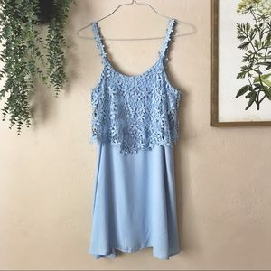 Francesca's Light Blue Floral Lace Shift Dress